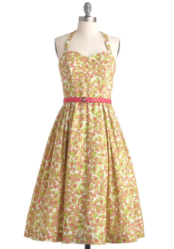 Made in the Shades Dress in Floral Flurry by Emily and Fin - Mid-length, Wedding, Party, Rockabilly, Pinup, 50s, Floral, A-line, Halter, Multi, Green, Pink, White, Polka Dots, Spring, Fit & Flare, International Designer