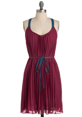 Ruby Martini Dress - Mid-length, Purple, Blue, Solid, Pleats, Racerback, Backless, Party, Sack