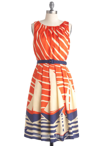 Maritime Moxie Dress by Eva Franco - Orange, Blue, Tan / Cream, Novelty Print, Pleats, Sheath / Shift, Sleeveless, Nautical, Casual, Summer, Long