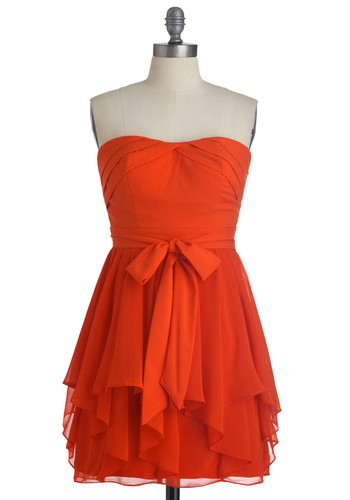 Tiers of Endearment Dress - Orange, Solid, Ruffles, Strapless, Bows, Handkerchief, Pleats, Party, A-line, Short