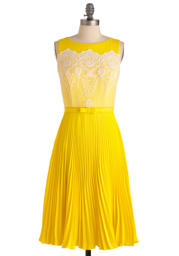 Lemon Amour Dress by Eva Franco - Long, Wedding, Vintage Inspired, Yellow, Solid, Lace, Pleats, Sleeveless, White, Bows, Scallops, 60s, A-line, Spring
