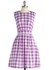 Too Much Fun Dress in Picnic Purple by Emily and Fin - Purple, White, Checkered / Gingham, A-line, Sleeveless, Vintage Inspired, Mid-length, International Designer