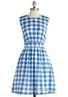 Too Much Fun Dress in Barbecue Blue by Emily and Fin - Vintage Inspired, Blue, White, Checkered / Gingham, A-line, Sleeveless, Mid-length, International Designer