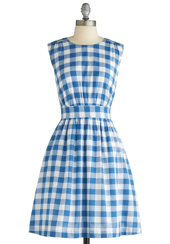 Too Much Fun Dress in Barbecue Blue by Emily and Fin - Vintage Inspired, Blue, White, Checkered / Gingham, Sleeveless, International Designer, Mid-length, Fit & Flare, Exclusives