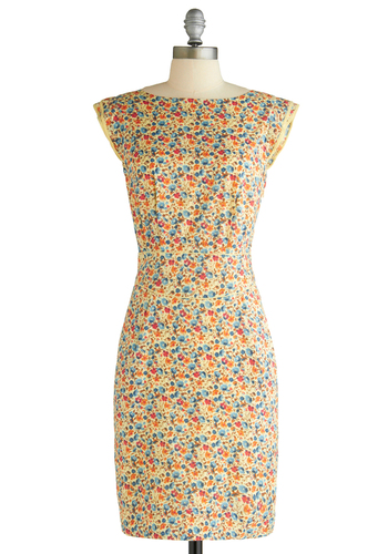 Centerpiece of My Heart Dress in Wildflowers by Emily and Fin - Multi, Floral, Sheath / Shift, Cap Sleeves, Orange, Yellow, Blue, Trim, Party, Spring, Mid-length, International Designer