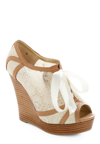 Harmony Wedge by Seychelles - Cream, Tan / Cream, Vintage Inspired, Floral, Lace, Spring, Wedge
