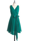 Ivy Got a Feeling Dress by BB Dakota - Mid-length, Green, Solid, Sleeveless, Bows, Handkerchief, Wedding, Wrap