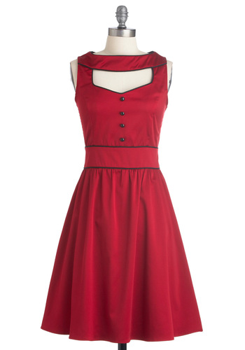 Stylish at the Cinema Dress - Party, Rockabilly, Vintage Inspired, Red, Solid, Buttons, Cutout, A-line, Sleeveless, Mid-length, Black, Trim