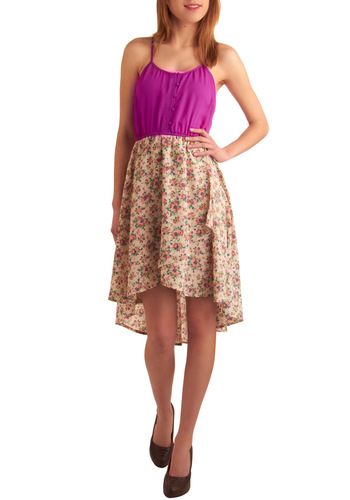 Bouquet Sashay Dress - Mid-length, Casual, Purple, Floral, Twofer, Spaghetti Straps, Multi, Orange, Green, Blue, Tan / Cream, Buttons, Summer