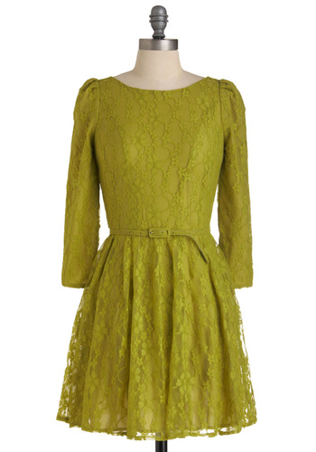 Flourish De Lis Dress - Lace, 3/4 Sleeve, Green, Solid, Party, A-line, Short, Belted, Cocktail, Holiday Party, Sheer, Fit & Flare, 90s