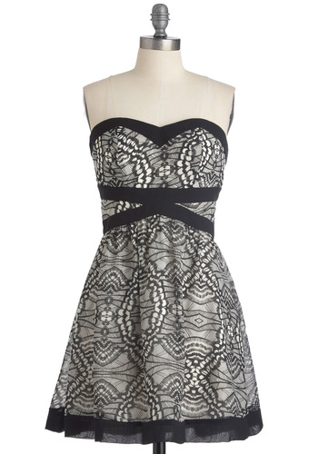 Winging It Dress - Mid-length, Wedding, Party, White, Print, A-line, Strapless, Black