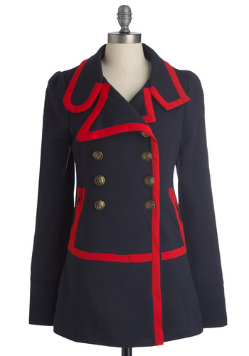 Seaside Salutations Coat by Knitted Dove - Blue, Red, Solid, Buttons, Pockets, Trim, Long Sleeve, Nautical, Military, 60s, Mid-length, 2