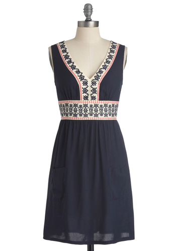 Stitching Stories Dress - Mid-length, Blue, Pink, White, Embroidery, Sheath / Shift, Sleeveless, Casual, Folk Art, Pockets