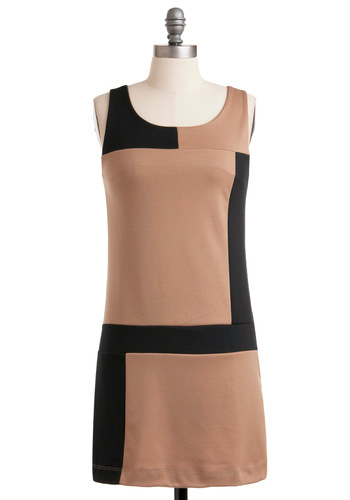 Rock the Colorblock Dress - Tan, Black, Exposed zipper, Sheath / Shift, 60s, Sleeveless, Short, Work, Holiday Sale, Colorblocking, Mod