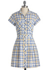 Plaid the Final Touch Dress - Mid-length, Casual, Vintage Inspired, 50s, Multi, Yellow, Blue, White, Plaid, Shirt Dress, Short Sleeves, Button Down, Collared, Fit & Flare