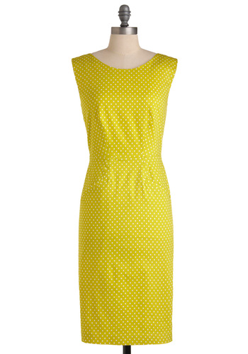 Last Minute Lovely Dress in Dots by Corey Lynn Calter - Yellow, White, Polka Dots, Cutout, Shift, Sleeveless, Casual, Long