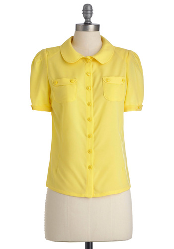 Sunny Sunday Top - Short, Yellow, Solid, Buttons, Peter Pan Collar, Pockets, Short Sleeves, Work, Spring