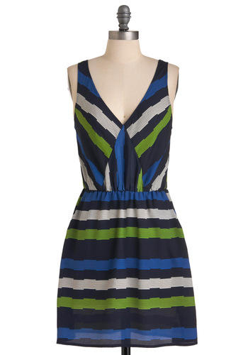 Underground Observations Dress - Mid-length, Urban, Green, Stripes, Shift, Sleeveless, Blue, Black