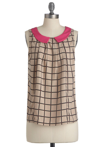 Hollywood Flair Top - Tan, Pink, Black, Print, Peter Pan Collar, Sleeveless, Vintage Inspired, Mid-length
