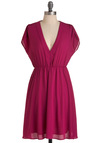 Forever Having Fun Dress - Mid-length, Pink, Solid, Cap Sleeves, Casual, A-line