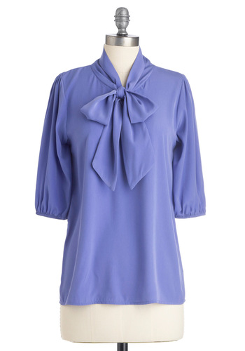Des Colores Top in Lilac - Work, Purple, Solid, Bows, 3/4 Sleeve, Mid-length