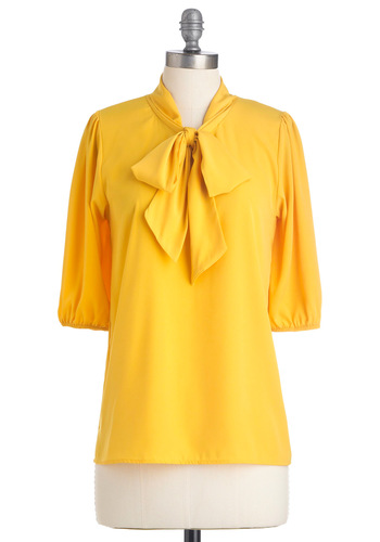 Des Colores Top in Lemon - Mid-length, Yellow, Solid, Bows, Work, 3/4 Sleeve, Spring