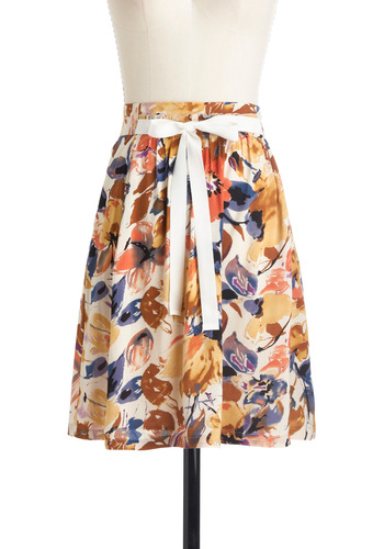 With Flying Watercolors Skirt - Mid-length, Multi, Print, Bows, Pockets, Orange, Blue, Purple, Brown, Tan / Cream