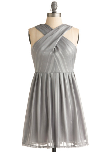 The Still of the Night Dress in Steel - Grey, Silver, Stripes, Pleats, Wedding, Party, A-line, Empire, Tank top (2 thick straps), Silver, Short