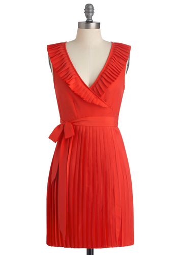 Vacay the Premises Dress - Mid-length, Solid, Pleats, Sleeveless, Orange, Bows, Casual, Wrap, Summer