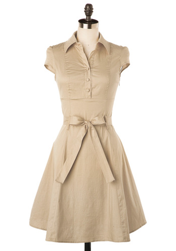 Soda Fountain Dress in Vanilla - Casual, Rockabilly, 50s, Tan, Solid, Buttons, A-line, Cap Sleeves, Bows, Work, Mid-length