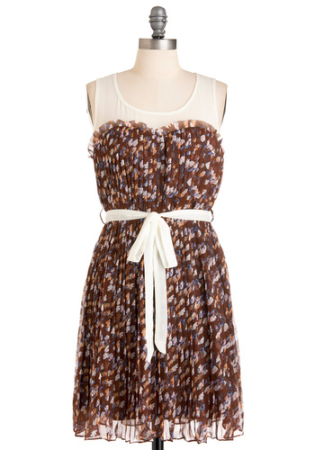 Woodland Empire Dress - Mid-length, Casual, Brown, White, Floral, Pleats, Shift, Multi, Blue, Pink, Tan / Cream, Sleeveless, Print