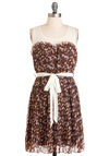 Woodland Empire Dress - Mid-length, Casual, Brown, White, Floral, Pleats, Sheath / Shift, Multi, Blue, Pink, Tan / Cream, Sleeveless, Print