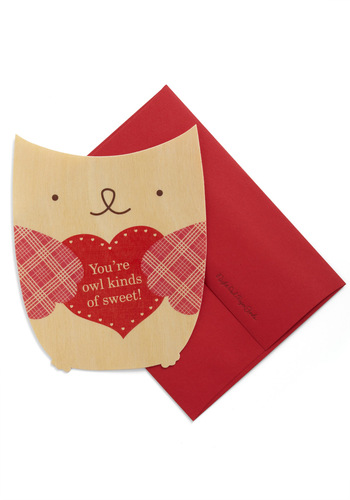 Flying High Valentine - Red, Tan / Cream, Owls, Valentine's