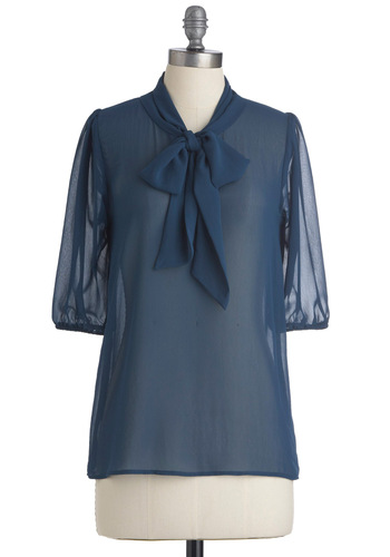 Des Colores Top in Sheer Sapphire - Mid-length, Work, 40s, Blue, Solid, Bows, Short Sleeves