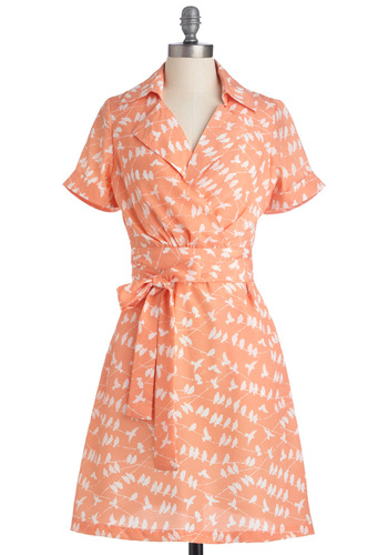 Perch Things First Dress - Mid-length, Vintage Inspired, 50s, Orange, White, Print with Animals, Short Sleeves, Pockets, Work, Wrap, Spring, Print