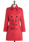 Femme in Fuchsia Coat - Long, Solid, Buttons, Pockets, Long Sleeve, Pink, Epaulets, Spring, 2