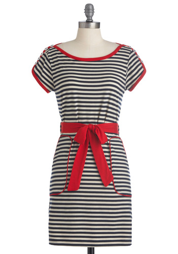Aye, Aye, Cutie Dress by Knitted Dove - Red, Stripes, Pockets, Sheath / Shift, Short Sleeves, Casual, Nautical, Blue, White, Print, Short