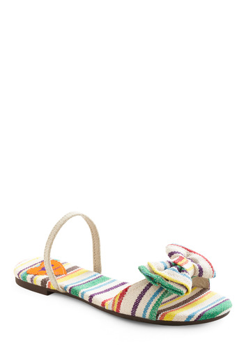 Fresh Find Sandal - Stripes, Bows, Cream, Multi, Red, Orange, Yellow, Green, Blue, Purple, Casual, Summer