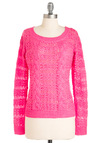 Neons Away Sweater - Mid-length, Casual, Statement, Pink, Solid, Knitted, Long Sleeve