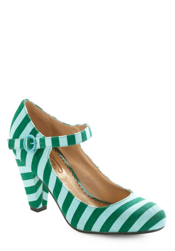 Cinquain Sweetie Heel by Poetic License - Green, Blue, Stripes, Casual, Spring