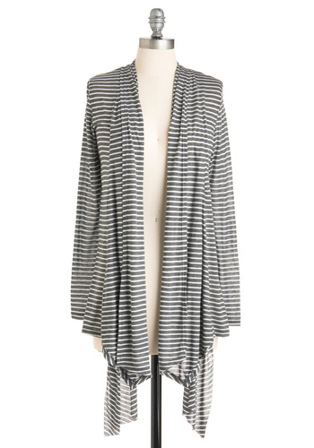 Cute and Kicked Back Cardigan - Grey, White, Stripes, Long Sleeve, Casual, Mid-length