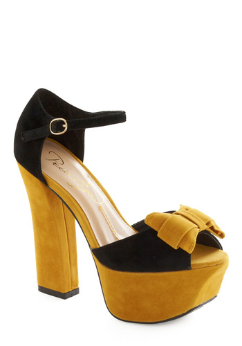 Bright Night Sky Heel - Yellow, Black, Bows, Party