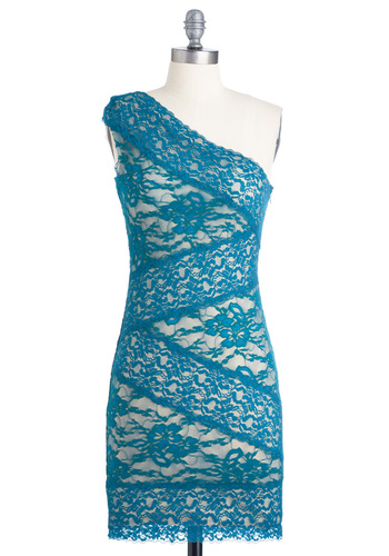 S-teal All the Attention Dress - Mid-length, Blue, Lace, Sheath / Shift, One Shoulder, Tan / Cream, Floral, Scallops, Party, Cocktail, Girls Night Out, Bodycon / Bandage, Variation