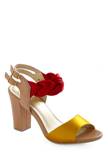Snapdragon Heel by Seychelles - Formal, Tan, Red, Yellow, Braided