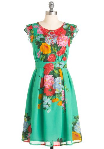 Blossom Day Soon Dress - Green, Floral, Ruffles, Cap Sleeves, Vintage Inspired, Red, Orange, Yellow, Tan / Cream, Embroidery, Party, A-line, Long, Mint
