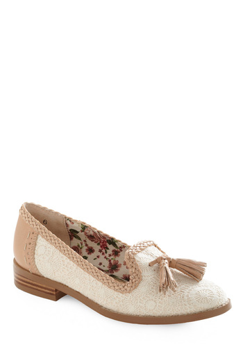 Ballad Flat by Seychelles - Menswear Inspired, Cream, Pink, Floral, Lace, Tassels