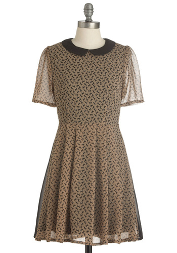 Ready and Stable Dress - Mid-length, Casual, Vintage Inspired, 60s, Black, Print with Animals, Peter Pan Collar, A-line, Short Sleeves, Tan, Print