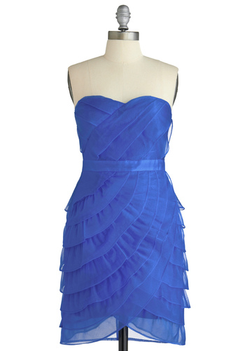 In Your Own Bright Dress - Blue, Solid, Pleats, Ruffles, Strapless, Prom, Party, Mid-length, Tiered