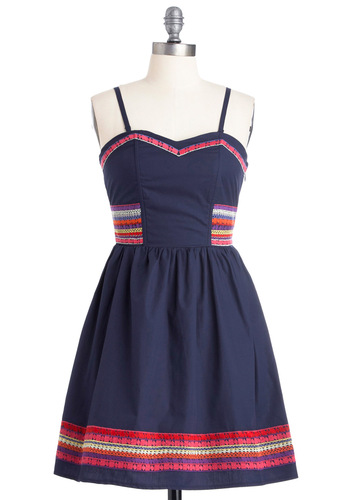 Birthday Fiesta Dress - Blue, Embroidery, A-line, Spaghetti Straps, Multi, Red, Orange, Purple, Pink, Tan / Cream, Solid, Casual, Mini, Short