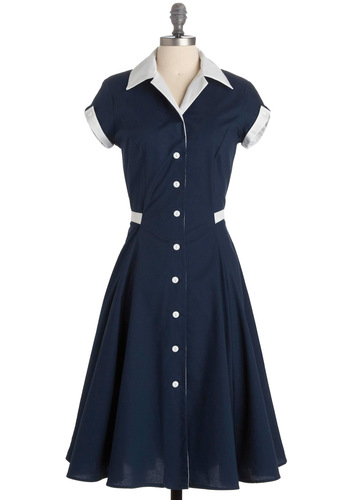Baba-blue Dress - Blue, White, Casual, Vintage Inspired, Shirt Dress, Short Sleeves, A-line, Long, Rockabilly, Cotton, Button Down, Collared, Fit & Flare, Nautical, 50s